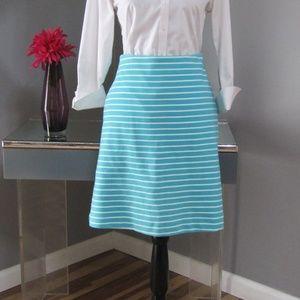 Talbots Turquoise & White Striped Woven Skirt